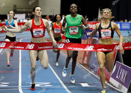 Maggie Vessey, Erica Moore, Fantu Magiso Maggie Vessey, right, finishes first ahead of Erica Moore, left, and Fantu Magiso, center, of Ethopia, in the women's 800-meter run at the Boston Indoor Games athletics competition in Boston