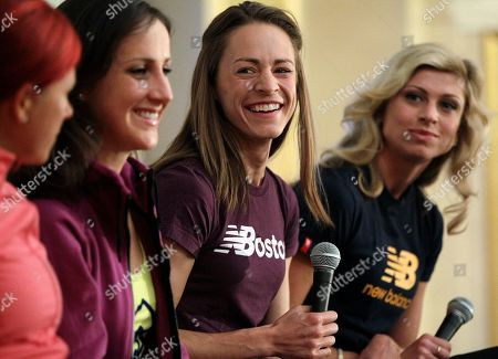Jenny Simpson, Anna Pierce, Shannon Rowbury, Maggie Vessey Jenny Simpson, second from right, smiles as she answers a question during a news conference of runners participating in the Indoor Grand Prix athletics meet in Boston, . Looking on are, from left, Anna Pierce, Shannon Rowbury and Maggie Vessey