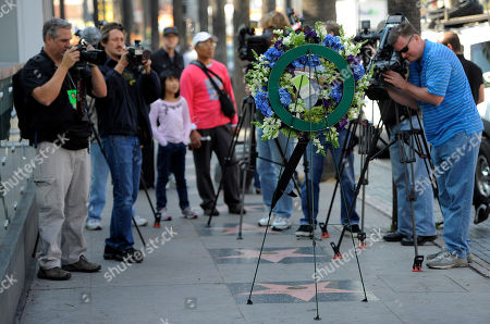 """Photographers shoot a wreath laid down on behalf of the Hollywood Historic Trust at the star for """"Soul Train"""" creator Don Cornelius on the Hollywood Walk of Fame in Los Angeles, . Cornelius died of an apparent self-inflicted gunshot wound at his home in Los Angeles this morning"""