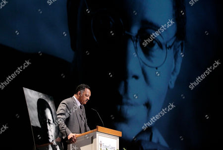 """Jesse Jackson The Rev. Jesse Jackson prays during a private memorial service for """"Soul Train"""" creator and host Don Cornelius in Los Angeles, . Cornelius died Feb. 1 from a self-inflicted gunshot wound. Since then, tributes to him and the show he created have been held around the country"""