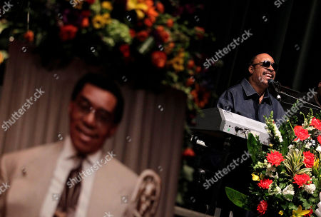 """Stevie Wonder Stevie Wonder performs during a private memorial service for """"Soul Train"""" creator and host Don Cornelius in Los Angeles, . Cornelius died Feb. 1 from a self-inflicted gunshot wound. Since then, tributes to him and the show he created have been held around the country"""