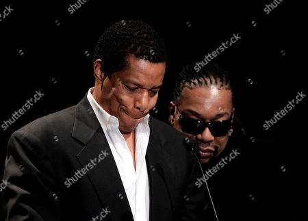 """Stock Image of Tony Cornelius, left, and his brother Raymond, sons of Don Cornelius, read a statement during a private memorial service for """"Soul Train"""" creator and host Don Cornelius in Los Angeles, . Cornelius died Feb. 1 from a self-inflicted gunshot wound. Since then, tributes to him and the show he created have been held around the country"""