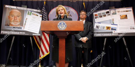 Linda Kelly, William Caye Pennsylvania Attorney General Linda Kelly, center, talks about the charges against William R. Ainsworth, seen in poster at left, during a news conference, in Pittsburgh. Ainsworth is accused of using an elaborate scheme on Facebook to solicit sexually graphic messages and photos from teenage girls and arrange in person meetings. William Caye, a senior deputy with the attorney generals child predator unit is at right