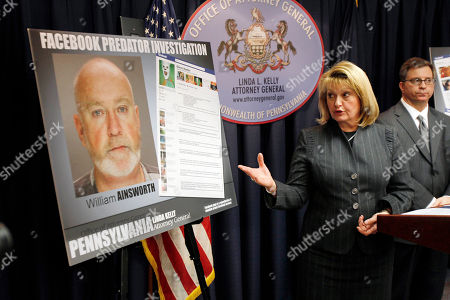 Linda Kelly, William Caye Pennsylvania Attorney General Linda Kelly, center, points to a poster size image of William R. Ainsworth, during a news conference in Pittsburgh, to elaborate on the charges Ainsworth faces. Ainsworth is accused of using an elaborate scheme on Facebook to solicit sexually graphic messages and photos from teenage girls and arrange in person meetings. William Caye, a senior deputy with the attorney generals child predator unit is at right