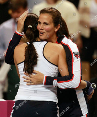 Christina McHale, Mary Joe Fernandez United States' Christina McHale, left, receives a hug from team captain Mary Joe Fernandez, right, after McHale defeated Anastasia Yakimova, of Belarus 6-0, 6-4, during a first round Fed Cup tennis match in Worcester, Mass