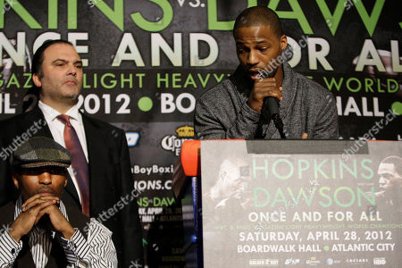 Bernard Hopkins, Chad Dawson Bernard Hopkins, seated at left, and Richard Schaefer of Golden Boy Productions, listen as Chad Dawson, right, speaks during a news conference to promote an upcoming fight in New York. Hopkins and Dawson will fight for Hopkins WBC light heavyweight title on Saturday, April, 28, 2012 in Atlantic City, N.J