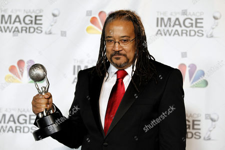 """Stock Photo of Ernest Dickerson Ernest Dickerson poses backstage with the award for outstanding directing in a dramatic series for """"Treme"""" at the 43rd NAACP Image Awards, in Los Angeles"""