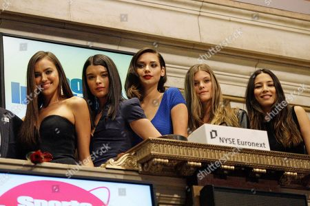 Crystal Renn, Irina Shayk, Jessica Gomes, Nina Agdal, Michelle Vawer Sports Illustrated swimsuit models, from left, Crystal Renn, Irina Shayk, Jessica Gomes, Nina Agdal and Michelle Vawer pose for photographs before the end of trading at the New York Stock Exchange, in New York