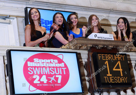 Crystal Renn, Irina Shayk, Jessica Gomes, Nina Agdal, Michelle Vawer Sports Illustrated swimsuit models, from left, Crystal Renn, Irina Shayk, Jessica Gomes, Nina Agdal and Michelle Vawer ring the bell at end of trading at the New York Stock Exchange, in New York