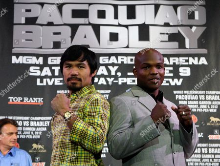 Manny Pacquiao, Timothy Bradley Jr Manny Pacquiao, left, of the Philippines, and Timothy Bradley Jr. pose at a news conference, in Beverly Hills, Calif., to promote their June 9 welterweight boxing match in Las Vegas