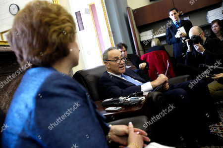 Charles E. Schumer, Debbie Stabenow Sen. Debbie Stabenow, D-Mich., left, and Sen. Charles E. Schumer, D-NY, talk to reporters about the payroll tax on Capitol Hill, in Washington, on