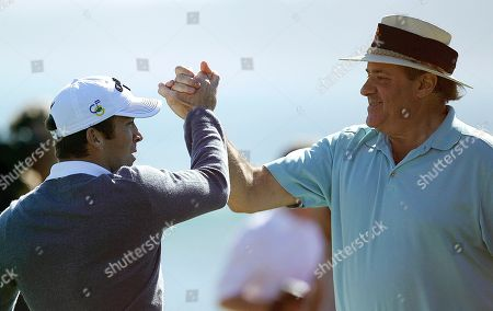 Lucas Black, Chris Berman Actor Lucas Black, left, celebrates with partner Chris Berman after making a chip shot to win the celebrity challenge at the Pebble Beach National Pro-Am golf tournament, in Pebble Beach, Calif