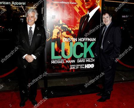 "Dennis Farina, Richard Kind Cast members Dennis Farina, left, and Richard Kind arrive at the premiere for the HBO television series ""Luck"" in Los Angeles, . The first episode of ""Luck"" airs Jan. 29, 2012"