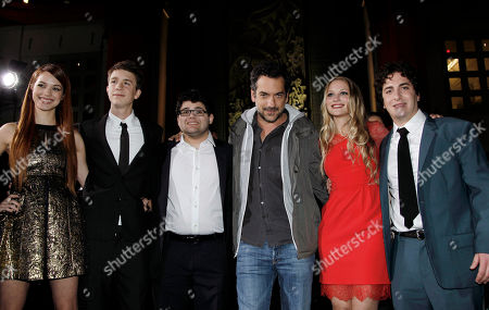 """Stock Image of Alexis Knapp, Thomas Mann, Jonathan Daniel Brown, producer Todd Phillips, Kirby Bliss Blanton, Oliver Cooper From left, cast members Alexis Knapp, Thomas Mann, Jonathan Daniel Brown, producer Todd Phillips, Kirby Bliss Blanton, and Oliver Cooper pose together at the premiere of """"Project X"""" in Los Angeles, . """"Project X"""" opens in theaters Friday, March 2, 2012"""
