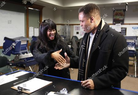 Jesse Jackson Jr., Sandi Jackson Then-U.S. Rep. Jesse Jackson Jr.,and his wife, Chicago city councilwoman Sandi Jackson, ask each other for their support and votes as they arrive at a polling station for early voting in Chicago. The U.S. Bureau of Prisons says 52-year-old Sandi Jackson reported to the Federal Prison Camp at Alderson in West Virginia Tuesday, Oct. 20,2015. She is serving a one-year sentence on a conviction related to $750,000 in spending of her husband's campaign money on everything from fur capes to vacations. The former Chicago city councilwoman, a Democrat, reported one month after her husband completed his 2 ½ year sentence