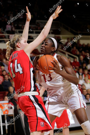 Ashley Ward, Chiney Ogwumike Stanford forward Chiney Ogwumike (13) is closely guarded by Seattle forward Ashley Ward (14) in the second half of an NCAA college basketball game in Stanford, Calif., Wednesday, Feb. 29. 2012. Stanford defeated Seattle 76-52