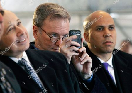 Lloyd Blankfein, Eric Schmidt, Cory A. Booker Goldman Sachs CEO and Chairman Lloyd Blankfein, left, and Newark Mayor Cory A. Booker, right, listen to Gov. Chris Christie, as Google Executive Chairman and former CEO Eric Schmidt, center, takes a photograph in Newark, N.J., during groundbreaking ceremonies of the Teachers Village. The mixed-use development project, designed by renowned architect and Newark native, Richard Meier, will contain several schools, a retail corridor and affordable teacher housing aimed at attracting new faces to the city's struggling schools