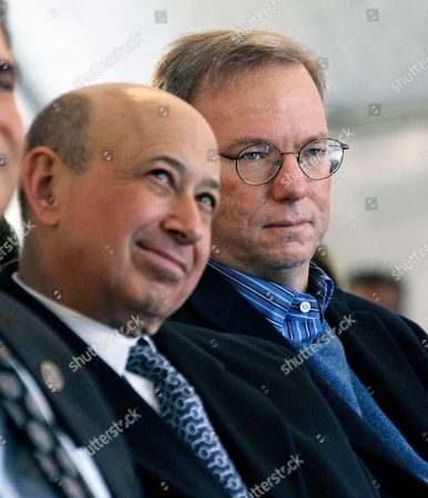 Lloyd Blankfein, Eric Schmidt Goldman Sachs CEO and Chairman Lloyd Blankfein, left listens with Google Executive Chairman and former CEO Eric Schmidt, right, in Newark, N.J., during groundbreaking ceremonies of the Teachers Village. The mixed-use development project, designed by renowned architect and Newark native, Richard Meier, will contain several schools, a retail corridor and affordable teacher housing aimed at attracting new faces to the city's struggling schools