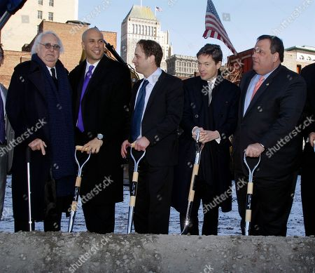 Richard Meier, Cory A. Booker, Ron Beit, Nicolas Berggruen, Chris Christie Graph, renowned architect and Newark native, Richard Meier, left, joins Newark Mayor Cory A. Booker, second left, developers Ron Beit, center, Nicolas Berggruen, second right, and New Jersey Gov. Chris Christie, right, in downtown Newark, N.J., Thursday, Feb. 9, 2012, for groundbreaking ceremonies of the Teachers Village. The mixed-use development project, designed by Meier, that will contain several schools, a retail corridor and affordable teacher housing aimed at attracting new faces to the city's struggling schools