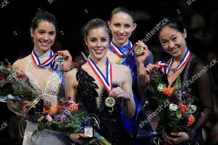 Alissa Czisny, Ashley Wagner, Agnes Zawadzki, Caroline Zhang From left, second place finisher Alissa Czisny, winner Ashley Wagner, third place finisher Agnes Zawadzki, and fourth place finisher Caroline Zhang pose with their medals after the ladies free skate event at the U.S. Figure Skating Championships in San Jose, Calif