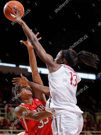 Rachel Morris, Chiney Ogwumike Stanford forward Chiney Ogwumike (13) scores over Utah center Rachel Morris (33) in the first half of an NCAA college basketball game in Stanford, Calif