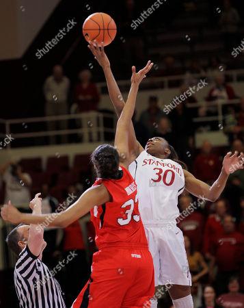 Nnemkadi Ogwumike, Rachel Morris Stanford forward Nnemkadi Ogwumike (30) taps the ball away from Utah center Rachel Morris (33) on the tipoff in the first half of an NCAA college basketball game in Stanford, Calif