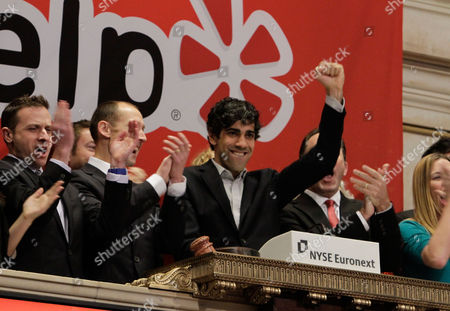 Jeremy Stoppelman Jeremy Stoppelman, right center, Yelp co-founder and CEO, salutes during opening bell ceremonies of the New York Stock Exchange . Yelp's stock is soaring in its stock market debut Friday. The shares are up 61 percent to $24.15 in the first minutes of trading, after pricing at $15 on Thursday night