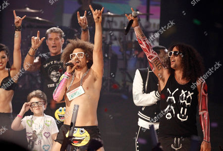 Keenan Cahill, David Hasselhoff, Redfoo, SkyBlu Keenan Cahill and David Hasselhoff are seen onstage as Redfoo and SkyBlu of the music group LMFAO perform onstage at the 39th Annual American Music Awards on in Los Angeles
