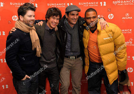 "Christopher Neil, Graham Phillips, Ty Burrell, Anthony Anderson Christopher Neil, director of ""Goats,"" poses with cast members, from left, Graham Phillips, Ty Burrell and Anthony Anderson at the premiere of the film at the 2012 Sundance Film Festival in Park City, Utah"