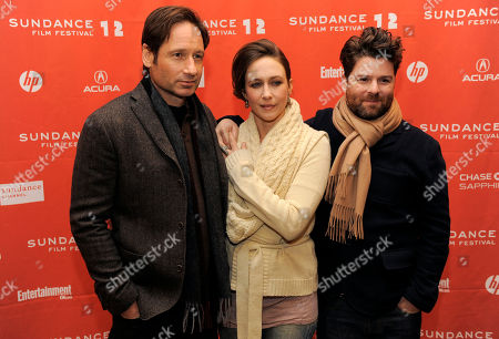 "Christopher Neil, Vera Farmiga, David Duchovny Christopher Neil, right, director of ""Goats,"" poses with cast members David Duchovny and Vera Farmiga at the premiere of the film at the 2012 Sundance Film Festival in Park City, Utah"