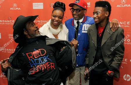 "Stock Photo of Clarke Peter, Spike Lee, Jules Taylor Brown, Toni Lysaith Spike Lee, second from right, writer/director of ""Red Hook Summer,"" poses with cast members, from left, Clarke Peters, Toni Lysaith and Jules Taylor Brown at the premiere of the film at the 2012 Sundance Film Festival in Park City, Utah"