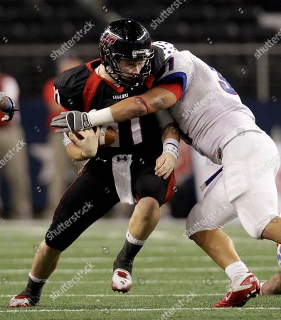 Baker Mayfield, Adam Deleon Austin Lake Travis quarterback Baker Mayfield (11) is sacked by Waco Midway'sAdam Deleon (31) in the first half of the 4A Division 1 high school championship football game, in Arlington, Texas