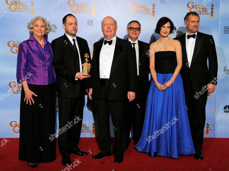 """Rebecca Eaton, Gareth Neame, Julian Fellows, Brian Percival, Elizabeth McGovern, Hugh Bonneville The cast and crew of """"Downtown Abbey"""" pose backstage with the award for Best Mini-Series or Motion Picture Made for Television during the 69th Annual Golden Globe Awards, in Los Angeles. From left, Rebecca Eaton, Gareth Neame, Julian Fellows, Brian Percival, Elizabeth McGovern and Hugh Bonneville"""