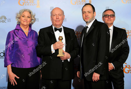 """Rebecca Eaton, Julian Fellows, Gareth Neame, Brian Percival From left, Rebecca Eaton, Julian Fellows, Gareth Neame and Brian Percival pose backstage with the award for Best Mini-Series or Motion Picture Made for Television for """"Downtown Abbey"""" during the 69th Annual Golden Globe Awards, in Los Angeles"""
