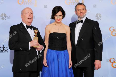 """Julian Fellows, Elizabeth McGovern, Hugh Bonneville Julian Fellows, left, Elizabeth McGovern and Hugh Bonneville pose backstage with the award for Best Mini-Series or Motion Picture Made for Television for """"Downton Abbey"""" during the 69th Annual Golden Globe Awards, in Los Angeles"""