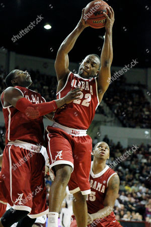 Andrew Steele, Tony Mitchell, Nick Jacobs Alabama guard Andrew Steele (22) pulls in a rebound as teammates Tony Mitchell, left. and Nick Jacobs watch in the second half of an NCAA college basketball game against Mississippi State in Starkville, Miss., . Mississippi State won 56-52
