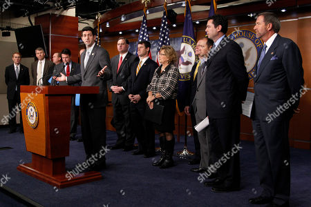"Paul Ryan, James Lankford, Rob Woodall, Mick Mulvaney, Todd Rokita, Paul Ryan, Frank Guinta, Todd Young, Diane Black, Tom Price, Marlin Stutzman, Jason Chaffetz, John Campbell House Budget Committee Chairman Rep. Paul Ryan, R-Wis., at podium, accompanied by Republican members of the committee gestures during a news conference on Capitol Hill in Washington, to unveil a ""comprehensive reform effort aimed to repair the broken budget process"" . From left are, Rep. James Lankford, R-Okla., Rep. Rob Woodall, R-Ga., Rep. Mick Mulvaney, R-S.C., Rep. Todd Rokita, R-Ind., Ryan, Rep. Frank Guinta, R-N.H., Rep. Todd Young, R-Ind., Rep. Diane Black, R-Tenn., Rep. Tom Price, R-Ga., Rep. Marlin Stutzman, R-Ind., Rep. Jason Chaffetz, R-Utah, and Rep. John Campbell, R-Calif"