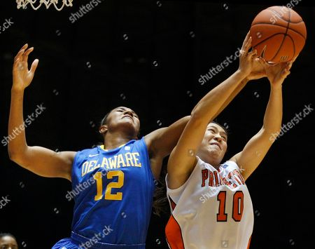 Nicole Hung, Danielle Parker Princeton's Nicole Hung (10) grabs the ball in front of Delaware's Danielle Parker (12) during the second half of an NCAA college basketball game in Princeton, N.J., . Delaware won 81-70