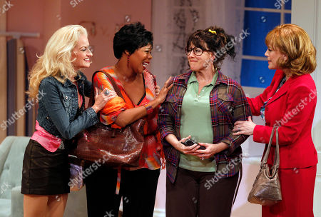 Janna Cardia, Janet Dickinson, Soara-Joye Ross, Felicia Finley Janna Cardia, playing the character of Linda, third from left, performs during a preview performance of Divorce Party the Musical, at the Raymond F. Kravis Center for the Performing Arts, in West Palm Beach, Fla. The play chronicles a weekend in the life of a middle-aged divorcee, in which her sister, a cousin, and a college friend sweep in to resurrect their crushed confidante. Also shown are Janet Dickinson, in the role of Courtney, left, Soara-Joye Ross, in the role of Sheila, second from left, and Felicia Finley, in the role of Carolyn, right
