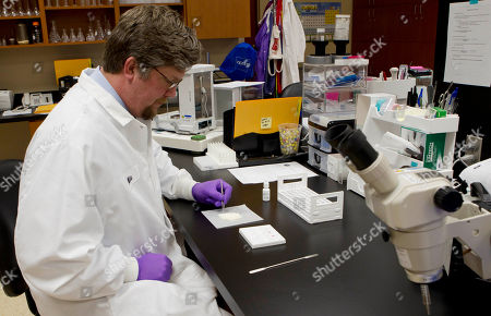 Michael Hitchcock Alabama Dept. of Forensic Sciences Section Chief - Drug Chemistry Michael Hitchcock examines a drug to see if is cocaine at the forensics lab in Montgomery, Ala., . The budget woes are causing backlogs in some of the tests they run which is causing backlogs in cases for some counties. The drug tested positive as cocaine