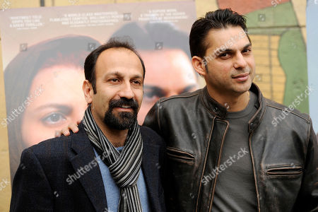 "Asghar Farhadi, Peyman Moadi Asghar Farhadi of Iran, left, director of the Golden Globe-nominated foreign language film ""A Separation,"" poses with cast member Peyman Moadi at the Golden Globe Foreign Language Nominees Seminar, at the Egyptian Theater in Los Angeles"