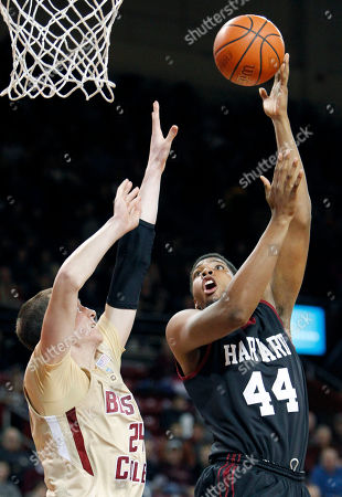 Dennis Clifford, Keith Wright Harvard's Keith Wright (44) shoots over Boston College's Dennis Clifford (24) in the first half of an NCAA college basketball game in Boston