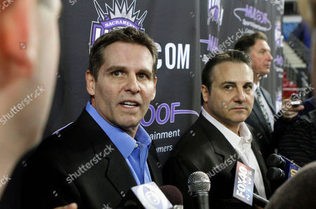 Stock Image of Joe Maloof, Gavin Maloof Sacramento Kings owners Joe Maloof, left, and brother Gavin Maloof talk with reporters during the Kings' media day in Sacramento, Calif., . The Maloofs are growing increasingly optimistic that the city will approve an acceptable financing plan for a new arena by the March 1 deadline to keep the franchise from relocating. (AP Photo/Rich Pedroncelli