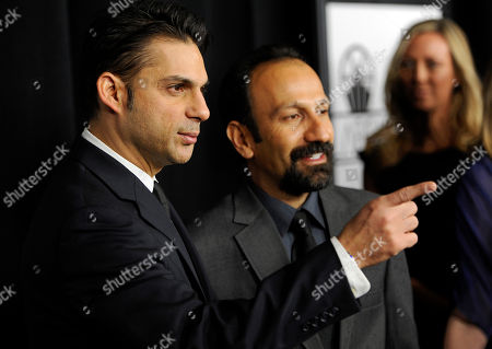 """Peyman Moadi, Asghar Farhadi Peyman Moadi, left, a cast member in the Iranian film """"A Separation,"""" and the film's writer/director Asghar Farhadi pose together at the 37th Annual Los Angeles Film Critics Association Awards, in Los Angeles. The film was the runner-up in the """"Foreign Language Film"""" category"""