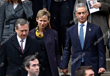 Mark Kirk, Rahm Emanuel, Amy Rule Sen. Mark Kirk, D-Ill., left, Chicago Mayor Rahm Emanuel, right, and his wife Amy Rule, depart Old St. Patrick's Catholic Church after attending the funeral of former Chicago first lady Maggie Daley in Chicago Monday, Nov., 28, 2011. Mrs. Daley died Nov. 24 after a long battle with cancer
