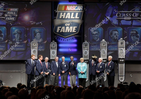 Bud Moore, Darrell Waltrip, Dale Inman, Bobby Allison, Glen Wood, Ned Jarrett, Lynn Evans, Richard Petty, Cale Yarbrough, Junior Johnson Members of the NASCAR Hall of Fame, from left, Bud Moore, Darrell Waltrip, Dale Inman, Bobby Allison, Glen Wood, Ned Jarrett, Lynn Evans, Richard Petty, Cale Yarbrough, and Junior Johnson pose for a photo after the NASCAR Hall of Fame induction ceremony in Charlotte, N.C