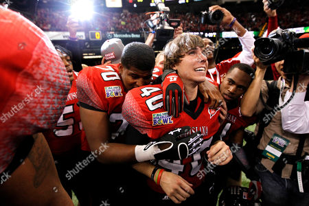 Brett Baer Louisiana-Lafayette kicker Brett Baer (40) is hugged by teammates after kicking a 50-yard field goal at the end of regulation to beat San Diego State in the New Orleans Bowl NCAA college football game in New Orleans, . Louisiana-Lafayette won 32-30