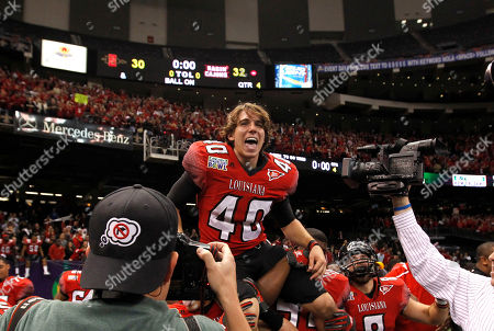 Brett Baer Louisiana-Lafayette kicker Brett Baer (40) is hoisted by teammates after kicking a 50-yard field goal at the end of regulation to beat San Diego State in the New Orleans Bowl NCAA college football game in New Orleans, . Louisiana-Lafayette won 32-30