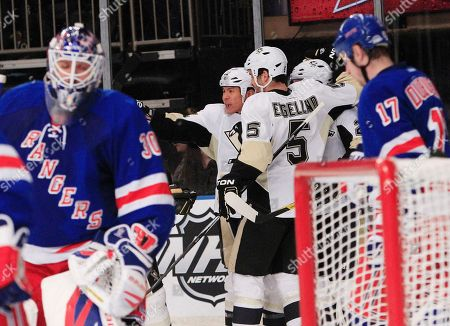 Richard Park Pittsburgh Penguins right wing Richard Park (12), of South Korea, celebrates with teammates after scoring a goal on New York Rangers goalie Henrik Lundqvist, left, as Rangers' Brandon Dubinsky, right, looks on during the third period of an NHL hockey game, in New York. The Penguins won the game 4-1