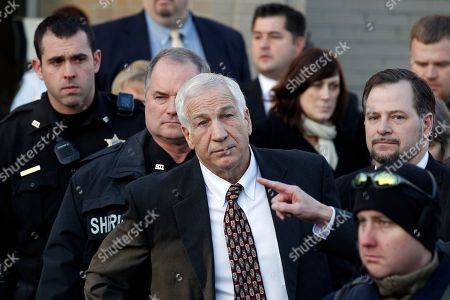Jerry Sandusky Jerry Sandusky, center, a former Penn State assistant football coach charged with sexually abusing boys, pausing as his attorney Joe Amendola makes a point as they depart the Centre County Courthouse in Bellefonte, Pa. Judge John Cleland has denied a request from Sandusky to delay the June 5 start of his child sex-abuse trial. Cleland,, denied defense attorney Joe Amendola's request for more time to prepare his defense